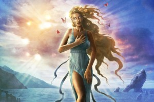 Aphrodite (Venus) Greek Goddess under sunlight - Art Picture