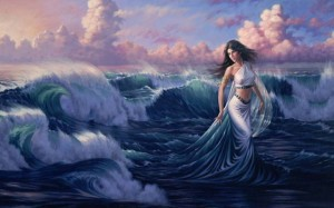 Aphrodite (Venus) Greek Goddess at sea - Art Picture