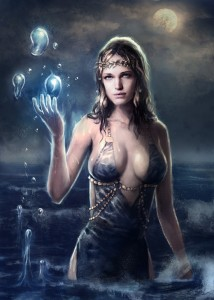 Aphrodite (Venus) Greek Goddess under moonlight - Art Picture