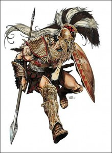 Ares (Mars) Greek God in attack stance - Art Picture