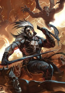 Ares (Mars) Greek God fighting monsters - Art Picture