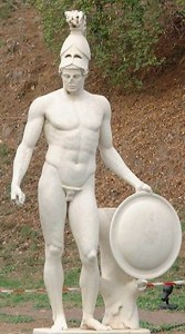 Greek God Ares (Mars) holding his shield Statue