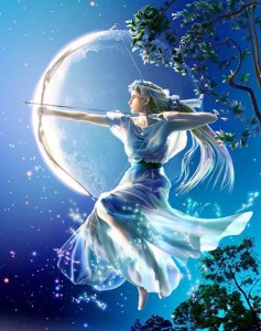 Artemis (Diana) Greek Goddess in moonlight - Art Picture