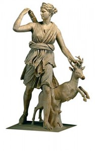 Greek Goddess Artemis (Diana) with a deer Statue