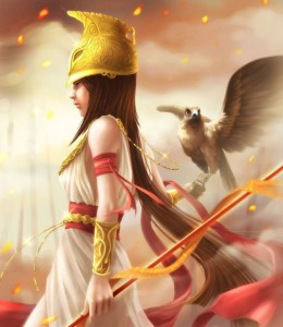 Athena (Minerva) Greek Goddess at dawn - Art Picture