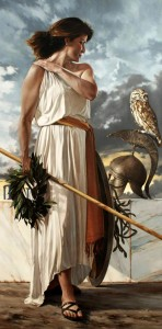 Athena (Minerva) Greek Goddess resting - Art Picture