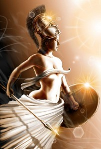 Athena (Minerva) Greek Goddess under sunlight - Art Picture