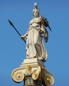 Greek Goddess Athena (Minerva) armored on top of pillar Statue