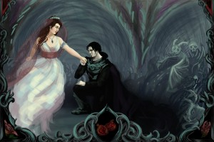 Hades farewell to Persephone, while offering her to eat a sweet pomegranate seed - Art Picture by Jynette Tigner