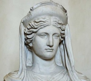 Greek Goddess Demeter (Ceres) Statue - Detail from a statue at Kindros, carved around 350 BCE