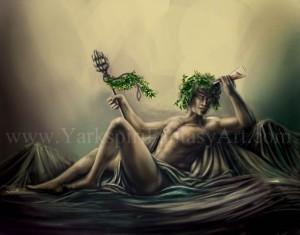 Dionysus (Bacchus) Greek God - Art Picture by yarkspiri