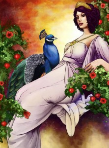 Hera (Juno) Greek Goddess with a peacock - Art Picture