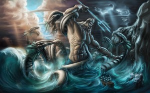 Poseidon (Neptune) Greek God fighting a sea monster - Art Picture