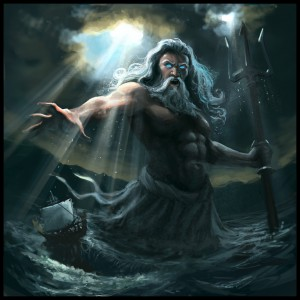 Poseidon (Neptune) Greek God under a cloudy sky - Art Picture