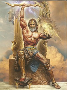 Zeus (Jupiter) Greek God in his Golden Throne - Art Picture