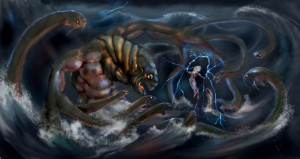 Zeus (Jupiter) Greek God vs Typhon monster - Art Picture by vkucukemre