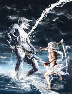 Zeus (Jupiter) Greek God vs Titan Cronus - Art Picture by Juan San