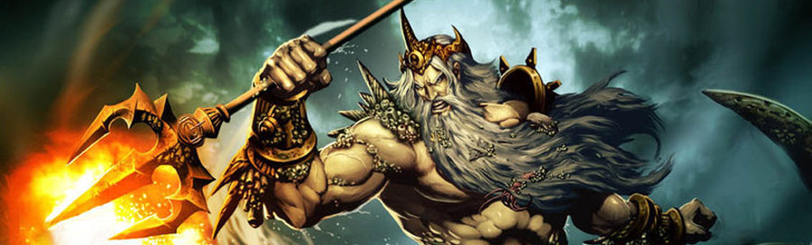 """Poseidon (Neptune) - Greek God of the Sea. His main domain is the ocean and additionally, he is referred to as """"Earth-Shaker"""". He is an Olympian God and brother of Zeus and Hades."""